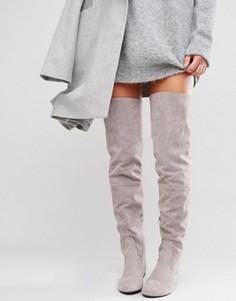 Серые сапоги-ботфорты со шнуровкой сзади Daisy Street - Серый