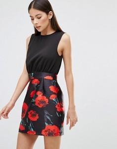 Платье 2-в-1 с цветочным принтом AX Paris - Черный