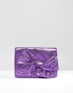 Клатч металлик с бантом ASOS - Фиолетовый