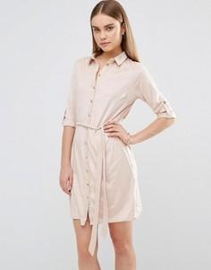 Платье-рубашка из искусственной замши AX Paris - Розовый