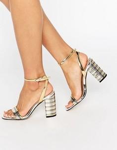 Сандалии на каблуке с полосатой отделкой ALDO Izabela - Золотой