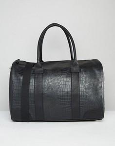 Черная сумка с эффектом крокодиловой кожи ASOS - Черный