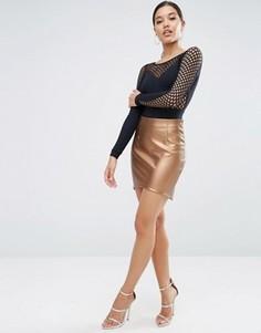 Мини-юбка из полиуретана с эффектом металлик и асимметричной кромкой ASOS - Золотой