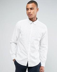 Рубашка узкого кроя с длинными рукавами и мелким цветочным принтом Esprit - Белый