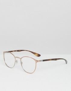 Круглые солнцезащитные очки Ray-Ban 0RX6355 - Золотой