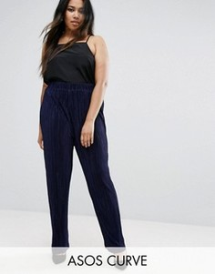 Широкие плиссированные брюки ASOS CURVE - Темно-синий