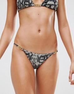 Трусики бикини с принтом под кожу питона Calvin Klein - Черный