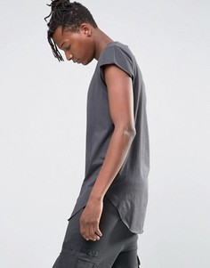 Длинная футболка с короткими рукавами и асимметричным краем ASOS - Черный
