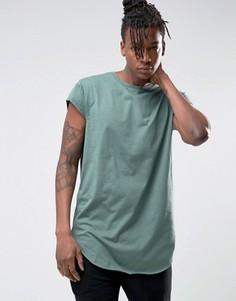 Длинная футболка из драпированной ткани с короткими рукавами ASOS - Синий