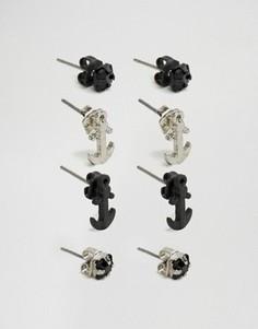 Набор из 4 сережек-гвоздиков Icon Brand - Мульти