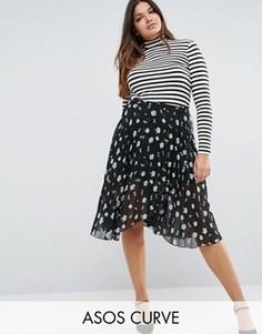 Плиссированная юбка миди с цветочным принтом ASOS CURVE - Мульти