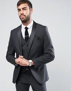 Пиджак-смокинг слим с атласными лацканами Selected Homme - Черный