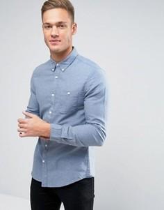 Рубашка слим с карманом Burton Menswear - Синий