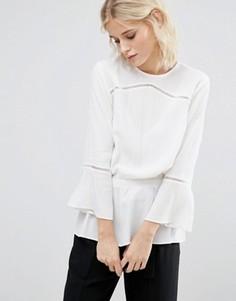 Блузка из ткани добби с эластичным поясом Gestuz - Белый