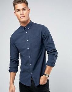 Темно-синяя меланжевая фланелевая рубашка узкого кроя Lindbergh - Синий