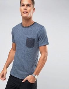Футболка с контрастным карманом Selected Homme - Темно-синий