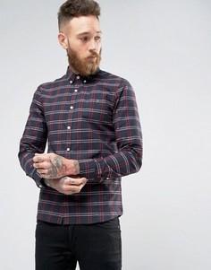 Меланжевая рубашка в клетку узкого кроя Farah - Темно-синий