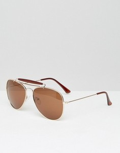 Золотистые солнцезащитные очки-авиаторы D-Struct - Золотой