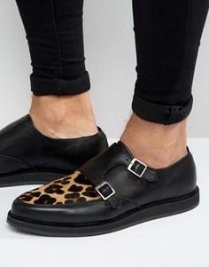 Черные кожаные монки с леопардовыми вставками ASOS - Черный
