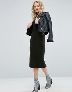Бархатная стеганая юбка-карандаш ASOS - Зеленый