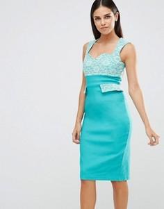 Платье-футляр с кружевным верхом и карманами Vesper - Зеленый