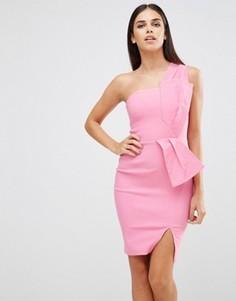 Платье на одно плечо с бантом Vesper - Розовый