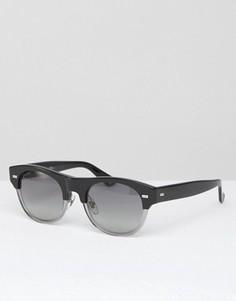 Круглые солнцезащитные очки в черной оправе с прозрачными вставками Gucci - Черный
