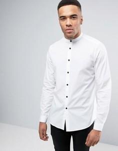 Белая рубашка классического кроя с контрастными пуговицами ASOS - Белый