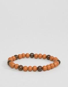 Светло-коричневый браслет из бусин Jack & Jones Jacbob - Черный