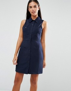 Платье-рубашка в рубчик без рукавов с карманами AX Paris - Темно-синий