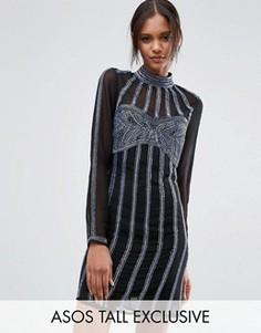 Платье мини с отделкой пайетками ASOS TALL - Мульти