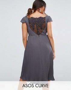 Платье миди с плиссированной юбкой и кружевом ASOS CURVE WEDDING - Серый