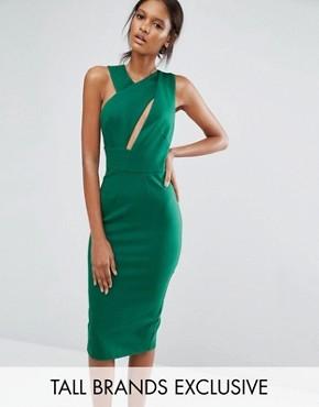 Платье-футляр миди без рукавов TTYA - Зеленый