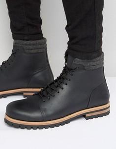 Черные кожаные ботинки на шнуровке и толстой подошве ASOS - Черный
