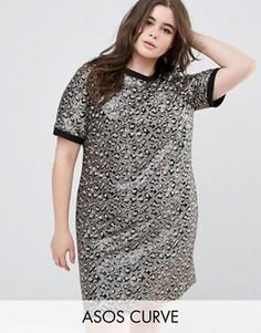 Декорированное цельнокройное платье мини с животным рисунком ASOS CURVE - Мульти