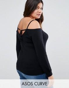 Джемпер с открытыми плечами и завязкой сзади ASOS CURVE - Черный