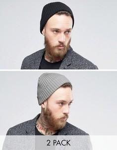 Набор из 2 шапок-бини в рубчик (черный/серый) Gregorys - Мульти