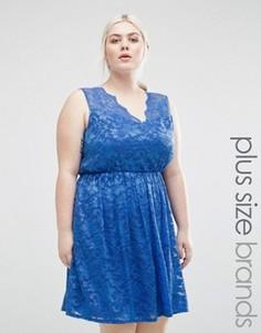 Кружевное короткое приталенное платье Lovedrobe Plus - Синий