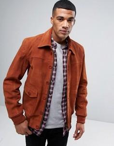 Замшевая куртка Харрингтон с подкладкой в стиле 70-х Barneys Premium - Рыжий Barneys Originals