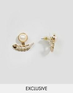 Серьги-гвоздики с искусственным жемчугом DesignB London - Золотой
