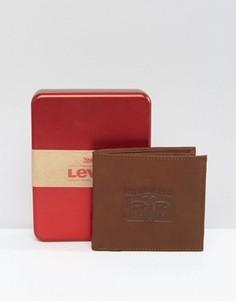 Коричневый кожаный кошелек с тиснением Levis - Коричневый Levis®