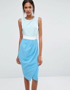 Трехцветное платье с драпированной юбкой Closet - Мульти