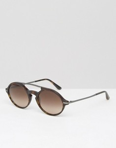 Коричневые круглые солнцезащитные очки Giorgio Armani Havanna - Коричневый
