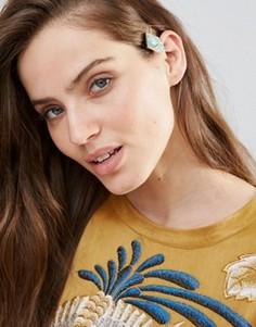 Заколка для волос с зеленым камнем DesignB - Синий