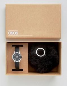Часы и брелок для ключей с помпоном ASOS - Черный