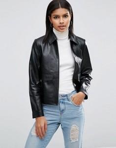 Кожаная куртка в минималистском стиле ASOS - Черный