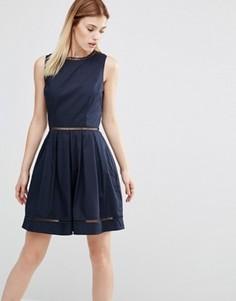 Короткое приталенное платье со вставками AX Paris - Темно-синий
