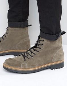 Серые замшевые ботинки на шнуровке ASOS Monkey - Серый