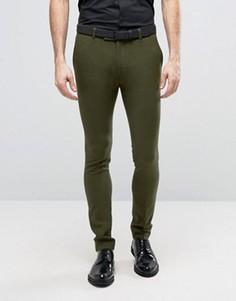 Супероблегающие брюки цвета хаки в строгом стиле ASOS - Зеленый