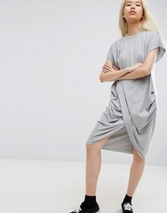 Платье миди с запахом ASOS WHITE - Серый